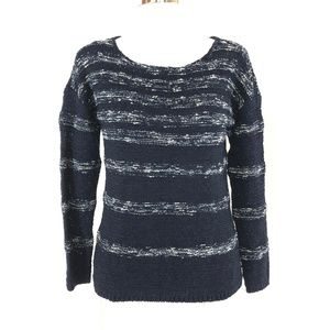 Talbots Womens Sweater Striped Chunky Knit Navy